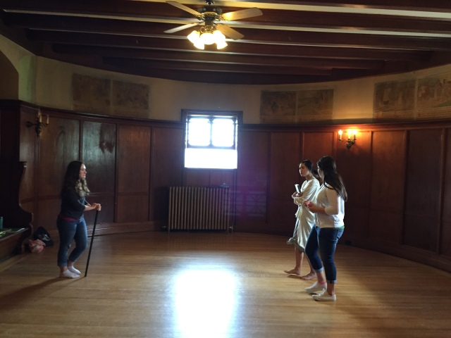 MacKenzie (left) plays a dictatorial dance instructor, with Becca and Tori as her timid students.